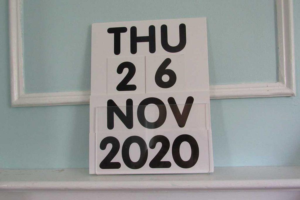 Seecal wall calendar on shelf